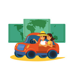 Couple driving tourism little car with world map vector