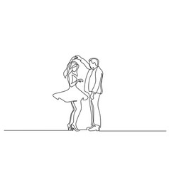 couple woman and man dancing continuous line vector image