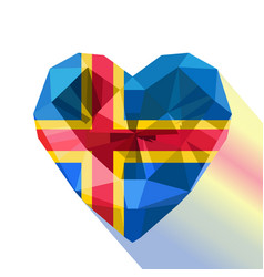 Crystal alandic heart flag of the land islands vector
