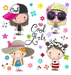 cute cartoon girls on a flowers background vector image