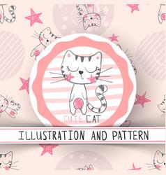 cute cat - cartoon seamless pattern vector image