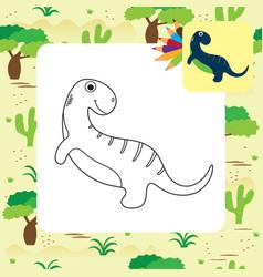 Cute dino coloring book vector