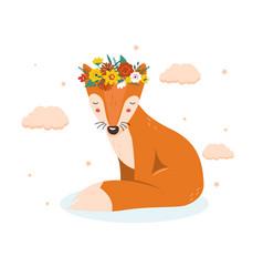 cute floral fox vector image