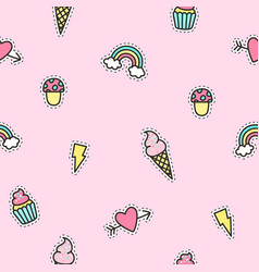 Cute objects pattern with pink background vector