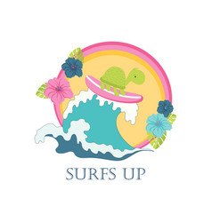 cute turtle on surfboard vector image