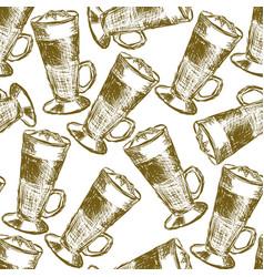 Doodle latte macchiato coffee seamless pattern vector