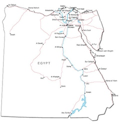 Egypt Black White Map vector image vector image