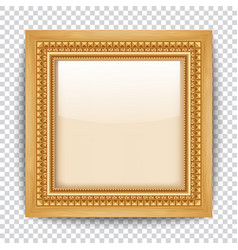Empty gold frame on transparent background wooden vector