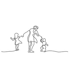family concept mother walking with small children vector image