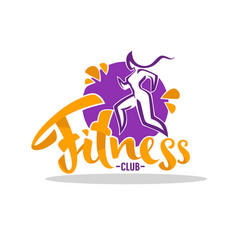 fitness club logo woman doing sport with vector image