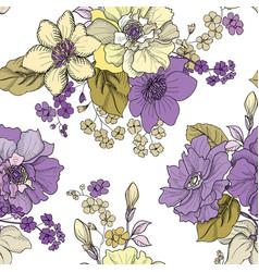 Floral engraved seamless pattern flower garden vector
