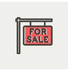 For sale placard thin line icon vector image vector image