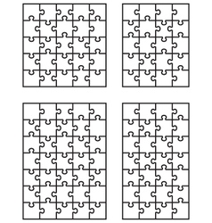 four white puzzles 5 vector image