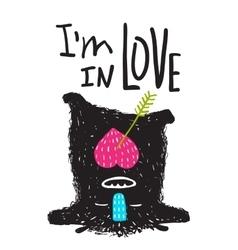 Fun Monster in Love Happy upside-down Cartoon for vector