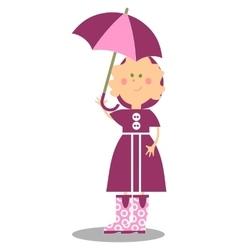 Girl walking with umbrella 17 vector