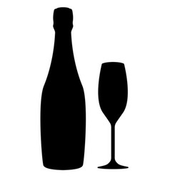 Glass and bottle champagne black silhouette vector