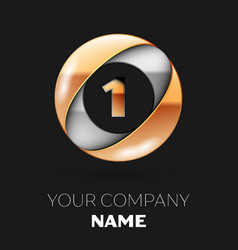 golden number one logo in the silver-golden circle vector image
