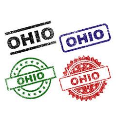 grunge textured ohio stamp seals vector image