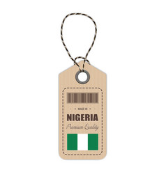 hang tag made in nigeria with flag icon isolated vector image