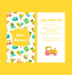 happy birthday greeting card yellow party vector image