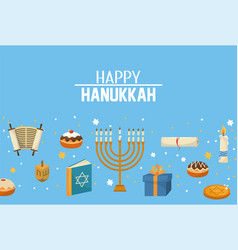 Happy hanukkah candles and decoration to vector