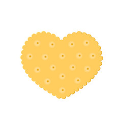 Heart crisp cookie snack isolated on white vector