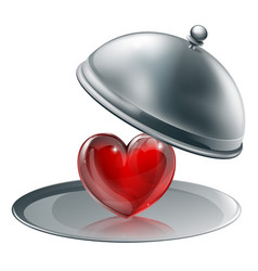 Heart on a silver platter vector