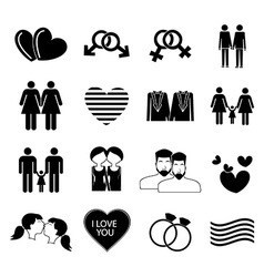 Homosexual gay icons set vector