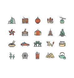 hong kong sign color thin line icon set vector image