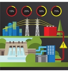 Hydroelectric power station trendy infographics vector