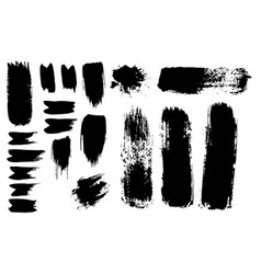 inked paint brush strokes set big vector image