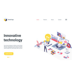 innovative business teamwork technology isometric vector image
