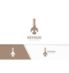 key and hands logo combination lock and vector image