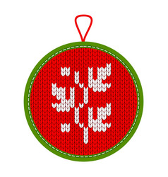 Knitted christmas decoration plant vector