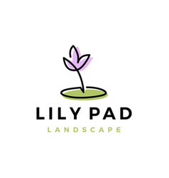 lily pad flower landscape landscaping logo icon vector image