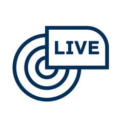 Live broadcast line icon reportage webcast vector