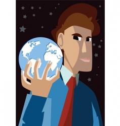 man holding globe vector image