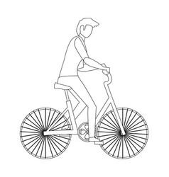 man riding bike vector image