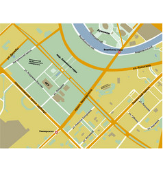 Map of sparrow hills in moscow yellow color vector