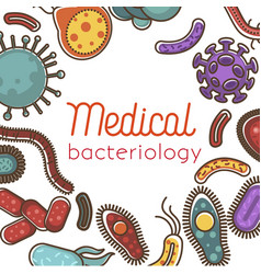 Medical bacteriology promo scientific poster with vector