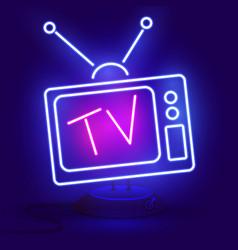 neon tv icon blue on dark vector image