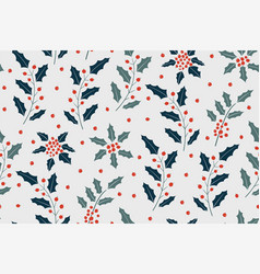 new year pattern with holly berry vector image