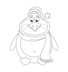 New Years cute penguin in hat and scarf sits vector image