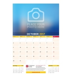 October 2017 Wall Monthly Calendar for 2017 Year vector image