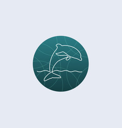 one line dolphin logo vector image