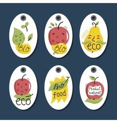 Organic eco and bio food labels set vector image