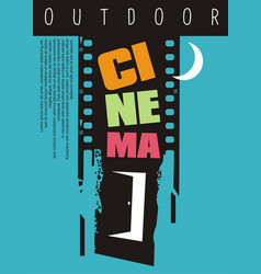Outdoor cinema poster design idea vector
