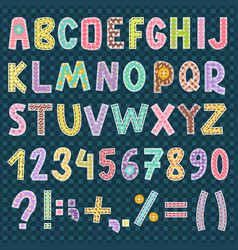 patchwork alphabet font letters symbol style vector image