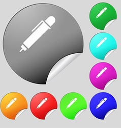 Pen icon sign Set of eight multi colored round vector