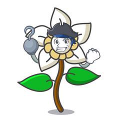 Pirate jasmine flower character cartoon vector